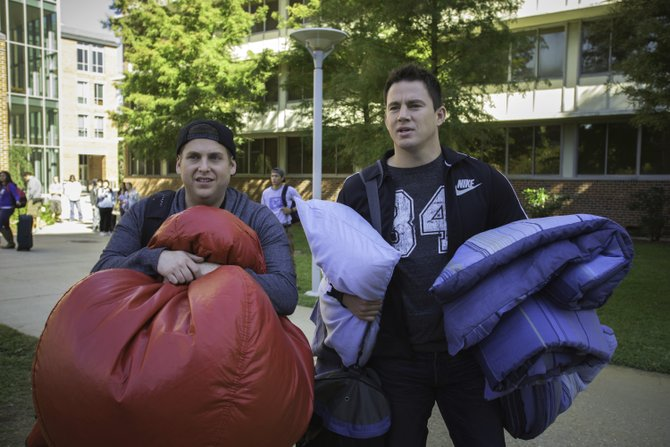 "Undercover police officers Schmidt and Jenko (Jonah Hill, Channing Tatum) ready themselves for the challenge of college in ""22 Jump Street."" The movie is a sequel to the comedic take on the 1980s TV show about cops posing as students."