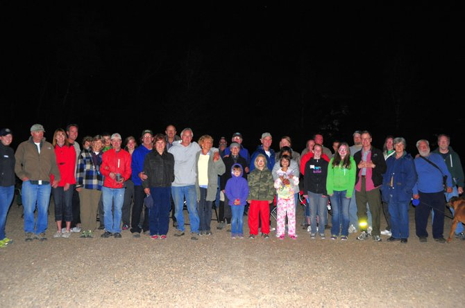 CMC astronomy professor Jimmy Westlake, far right, and several dozen friends and astronomy enthusiasts enjoyed an evening of star gazing Saturday night at the Yampa River State Park Campground, west of Hayden. All got to see spectacular views of Saturn, Mars, star clusters and galaxies through several telescopes that were set up at the campground.