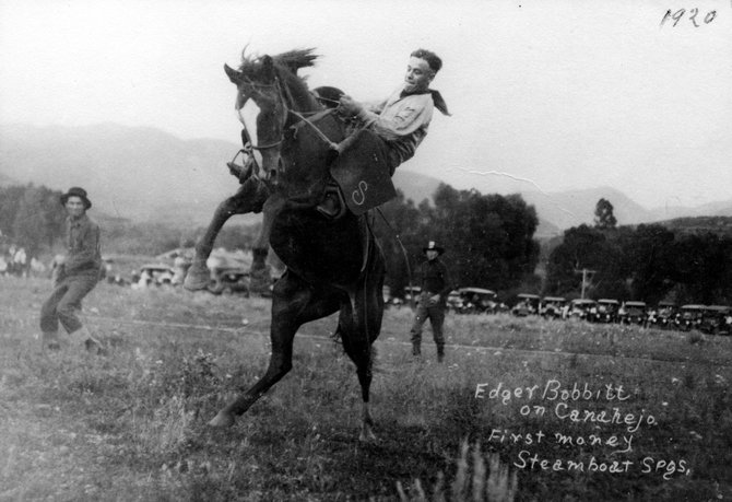 By the 1920s, rodeo in Steamboat Springs was a popular affair and the more civilized and contained rodeo events were held at the base of Emerald Mountain, and showcased riders such as Edger Bobbitt.