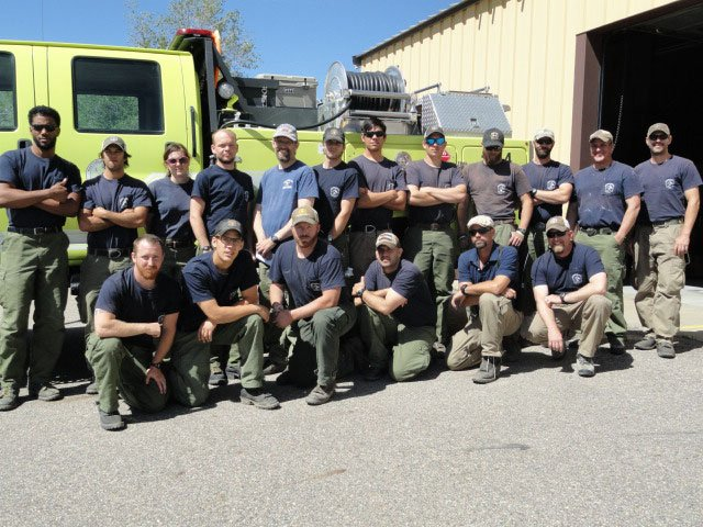 The members of Northwest Colorado Fire Management Unit at Craig station. Back row, from left: Stephan Bell; Brandon Voegtle; Jamie Geerdes, assistant captain; Kyle Lewis; Bill Bowes, engine captain; David Koepp; Ariel Fick-Ridgebear, assistant captain; Tim Hasselmann; Richard Schwegler; Caleb Meyer, engine captain; Michael St.Martin, engine captain; Derrick Charpentier, assistant captain. Front row, from left: Zachary Taylor; Joey Shephard; Chris Pladsin; Paul Black; Erik Bloom, module captain; and Matthew Holte, engine captain.