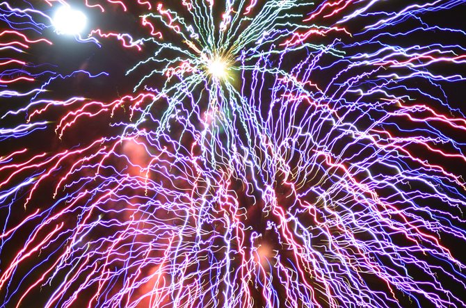 Mutlicolored fireworks light up the nighttime sky to conclude the events of Craig's Independence Day Friday. The pyrotechnics display, provided by Craig Fire/Rescue, was funded entirely by the community this year.