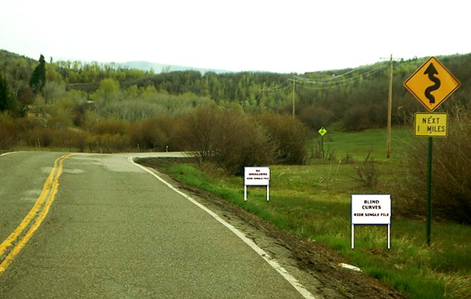 The Routt County Road and Bridge Department, it's multi-modal advisory group and Routt County Riders will collaborate on a new signage program alerting cyclists to stretches of four county roads where it's prudent to ride single file. The roads include Rout County Roads 129, 33, 14 and 27. It is lawful in Colorado for cyclists to ride two abreast when they are not impeding traffic.