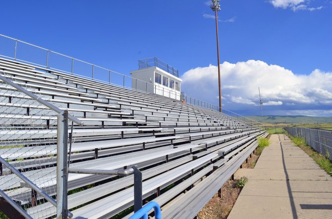 The bleachers at Moffat County High School's Bulldog Proving Grounds remain empty during the summer months.  The school is still in the process of finding a new athletics and activities director to replace Rick Schmitz, who resigned in June.