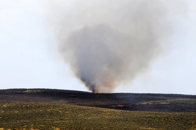 A hotspot appears late in the afternoon Thursday west of Moffat County Road 7.