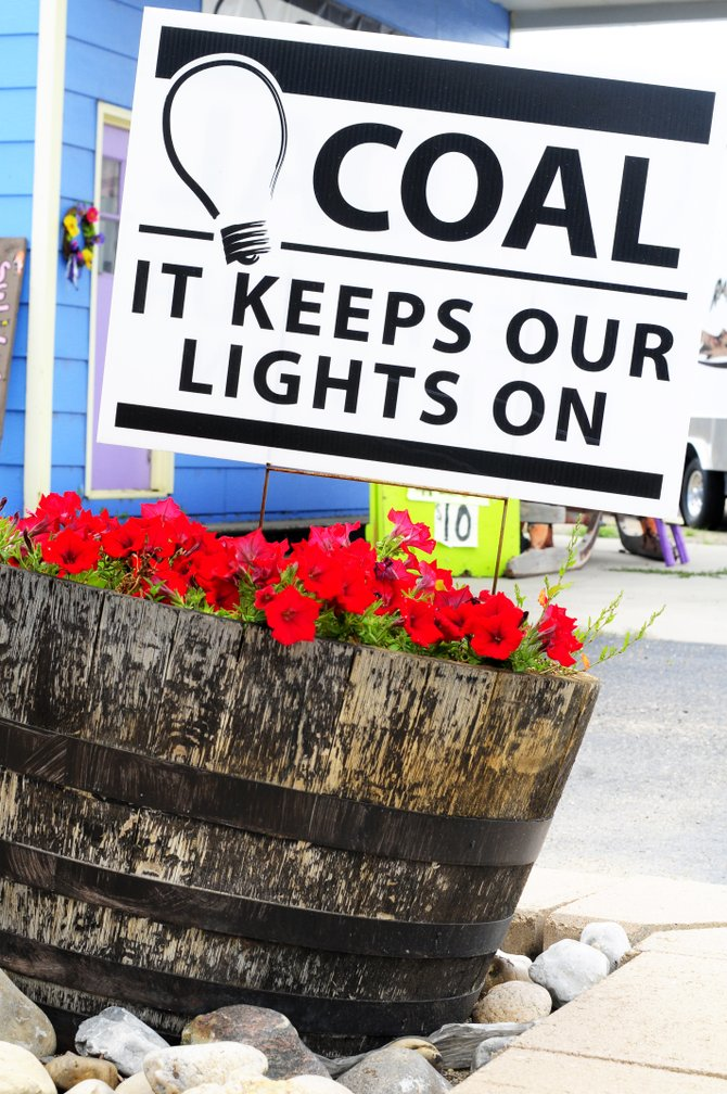 One of many coal signs outside of The Flower Mine in Craig.