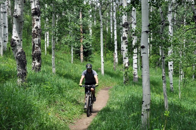 A cyclist zips down a trail near Spring Creek. The U.S. Forest Service next week is hosting a meeting to discuss the future of its multi-use trails in the area.