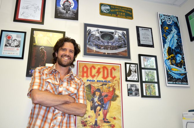 Routt County roadie: The new Strings Music Festival production manager Steve Chambers has signed mementos from AC/DC, Tina Turner, Pearl Jam, the Rolling Stones, The Who, Joe Walsh, the Red Hot Chili Peppers and more from 20 years on the concert trail as a stage rigger.