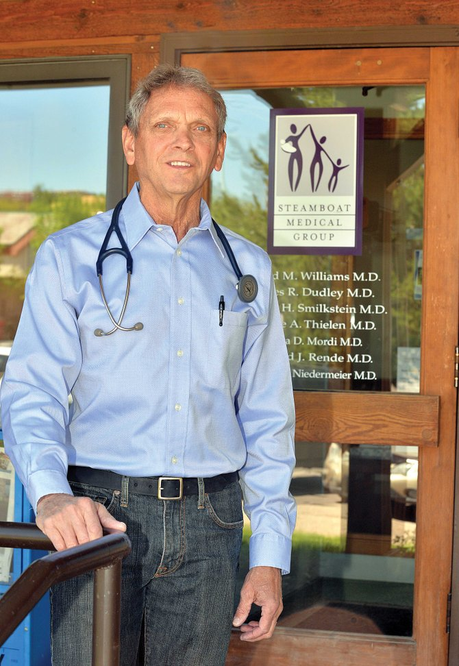 Say aahh: Dr. Dave Williams in front of the Steamboat Medical Group, which he co-founded in 1975.