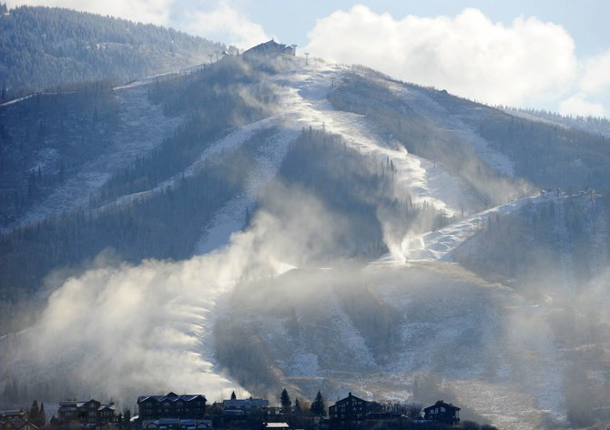 Snowmaking guns are used to coat the slopes of Mount Werner. Steamboat Ski Area is expanding its snowmaking capabilities in time for the 2014-15 ski season.