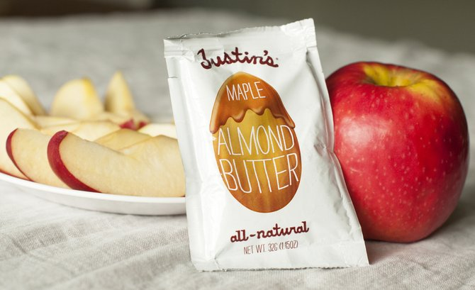 Organic apples and almond butter make a simple and satisfying snack on any occasion.