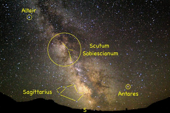 With the moon in its waning phases this week, the glowing star clouds of the Milky Way will have no competition with moonlight. This is a perfect time to locate the obscure little constellation of Scutum, the Shield, hiding within the magnificent Scutum Star Cloud of the Milky Way.