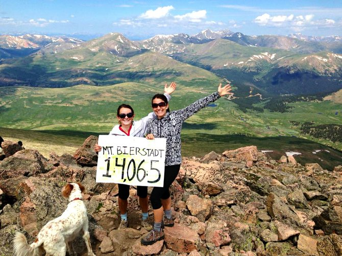 Cassie Piper summits Mount Bierstadt with her sister Valerie Stafford and Stafford's dog Darby.