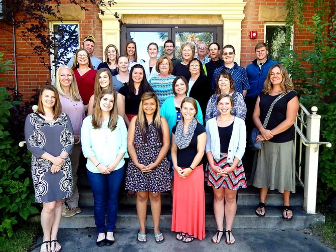 Moffat County School District welcomed a large group of new teachers this year. Front row: Annie Reimann, Amanda Toll, Angela Glispy, Nicolle Smith and Brittany George. Second Row: Erika Miller, Megan Switzer, Lauryn Calafiore, Amy Ward, Kristen Namminga and Kyla Gifford. Third row: Jessica Barton, Chari Gomez, Paula Ferguson, Terry Jacobs, Brice White and Jeff Wert. Fourth row: Ryan Hoover, Laurel Saims, Misty McCormick, Autumn Tatman, Joe Padon, Mary Blakeman, Angus McIntosh and Keith Gille. Not pictured: Bille Lockhart, Kelly McCormick, Stephen Bollinger, Mike Mitchell, Cristina Vanzo, Della Albrighton, Staci Grabina and Lacey Ramos.