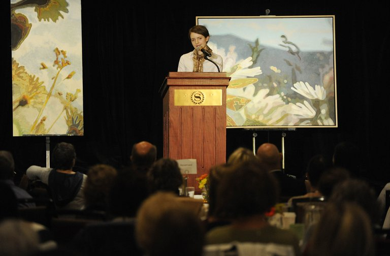 Author Emily St. John Mandel speaks Saturday during the Literary Sojourn at the Sheraton Steamboat Resort.