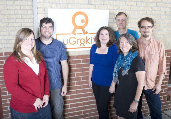 The U Grok It team, from left,  is Jennifer Meeks, Jeremy Dashe, Carrie Requist, Tony Requist, Laura Sankey, and Tony Lijphart