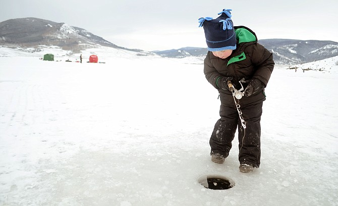 Stagecoach reservoir freezes in time for annual ice for Ice fishing tournament