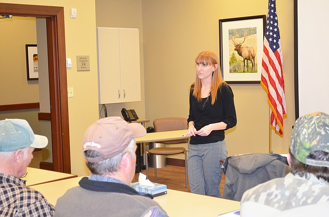 Brandi Meek, chair of the Moffat County Republican Party, speaks to members of the party at their re-organization meeting on Thursday, Feb. 12.