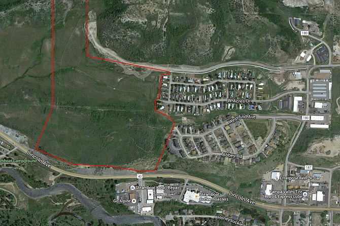 This is the property, known as the Overlook property, where the new Steamboat Springs High School will be located if voters approved a $92 million bond in November. The red outline in this graphic shows the majority of the property, which also extends further north, located off Downhill Drive along the western city limit of Steamboat Springs.