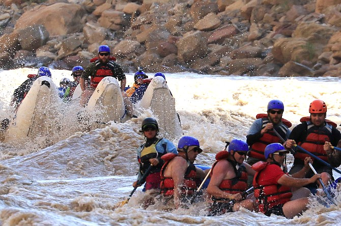 Soldiers ride down the Colorado River last month during an event put on by Warriors on Cataract and Steamboat Adaptive Recreational Sports. STARS joined with Warriors on Cataract to organize the annual rafting trips, which allow veterans with disabilities to connect with soldiers facing similar challenges.