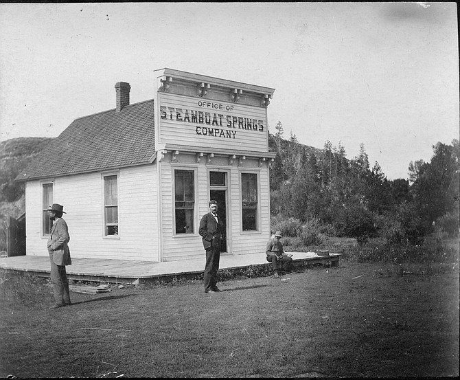 This photo shows James H. Crawford in front of the office of the Steamboat Springs Company, built in 1889. This building was used as the first City Hall when the town incorporated in 1900.