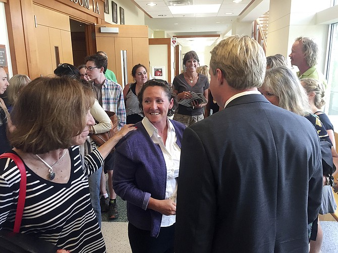 Kristin Bantle visits her supporters after her Aug. 12 court hearing at the Routt County Justice Center.
