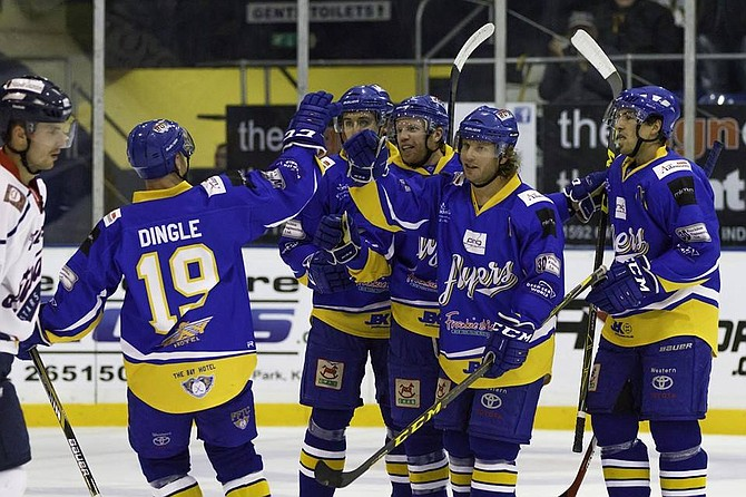 Ryan Dingle, formerly of Steamboat Springs, joins his Fife Flyers teammates on the ice in Kirkcaldy, Scotland.