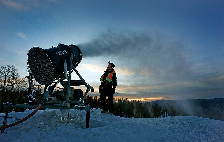 Pierce Delhaute oversees snowmaking operations at the Steamboat Ski Area in 2012.