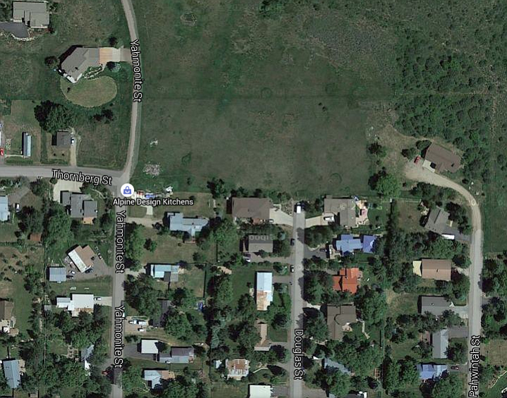 A satellite image from Google Maps shows the area that is proposed to be annexed into the city of Steamboat Springs just north of Old Town. The property currently hosts one home but is mostly undeveloped.