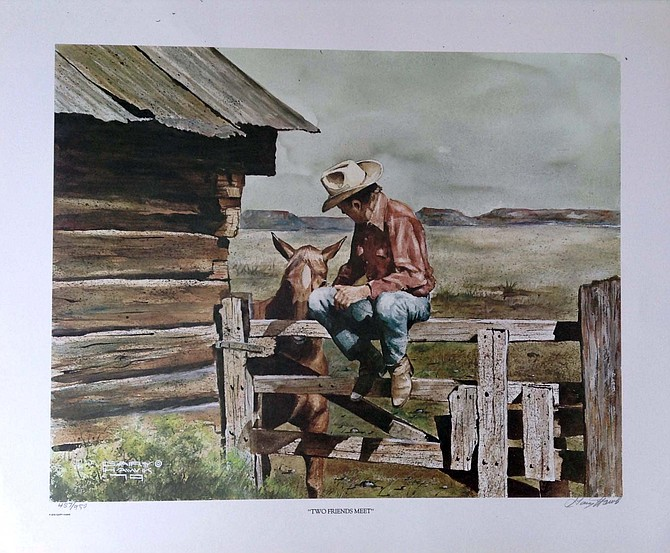 "A photo of the fine art print ""Two Friends Meet"" by Gary Hawk, depicting local rancher Vernon Summer."