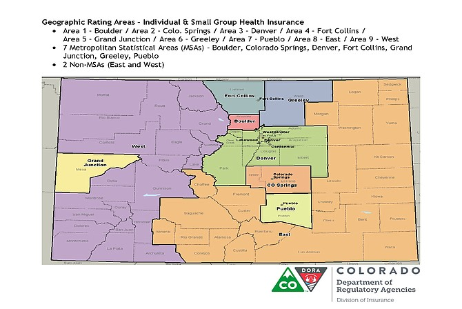 A map of geographical insurance rating areas outlines rates for individual and small group health insurance in Colorado.