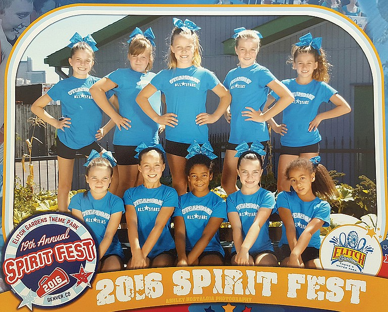 The members of the Steamboat All Stars Blue Ice team are pictured above. In the front row, from left, are Marley Moore, Maddie Moss, Davina Grant, Ashley Bruellman and Alina Grant. Back row, from left, are Alicia Sabin, Jessica Bedell, Kaelyn Radway, Natalie Bruellman and Jordan Casavecchia. The squad competed in Denver at the 19th annual Spirit Fest and took first place in its division.