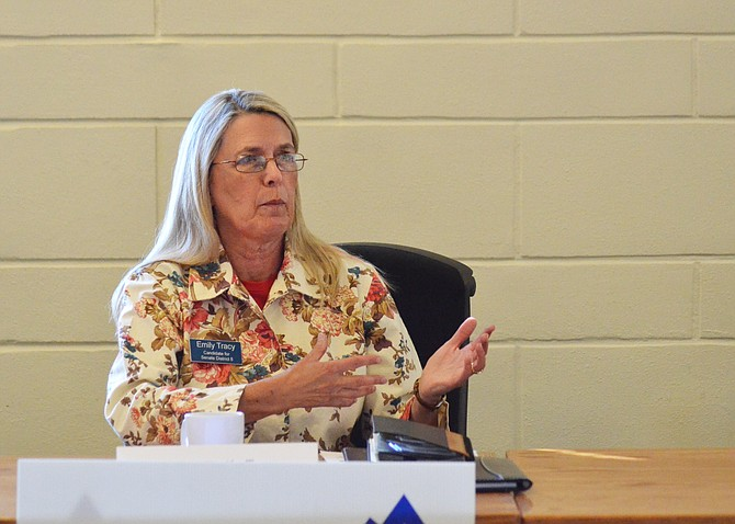 Colorado State Senate District 8 Candidate Emily Tracy, D-Breckenridge, speaks during Wednesday's candidate forum.