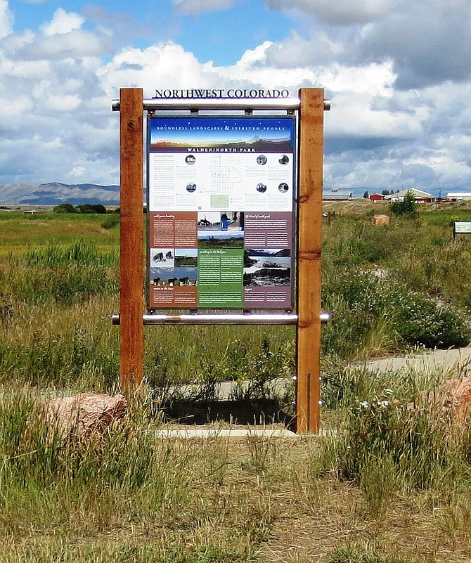 The new gateway sign for the Hahns Peak area, to be placed at the visitor's center at Steamboat Lake State Park, will look very much like this sign just outside the town of Walden in North Park and neighboring Jackson County.