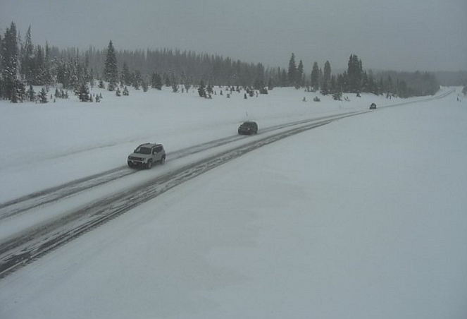 Winter weather continued to impact road conditions in the Steamboat Springs area Sunday, as shown in this traffic camera on Rabbit Ears Pass. A Greyhound transit bus that experienced a mechanical problem related to cold weather left 40 passengers stranded in Steamboat Springs from Thursday until Saturday.