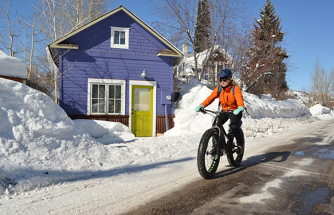 Helen Beall was motivated by a desire to live a more sustainable lifestyle when she decided this winter to begin bicycle commuting several days per week  from her home in Old Town Steamboat to work at the Yampa Valley Community Foundation in Sundance at Fish Creek.