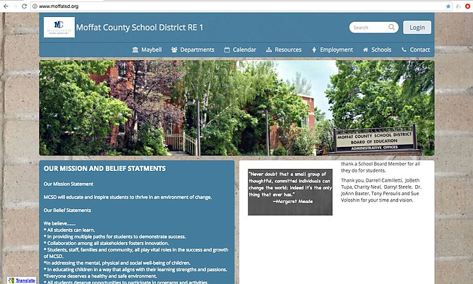 Moffat County School District launched a redesigned website that is more user friendly across all types of platforms — computers, tablets and smart phones. Superintendent Secretary Heather Higgins led the project and expects the new design to be easier for staff to update. This image is a screen shot of the district home page.
