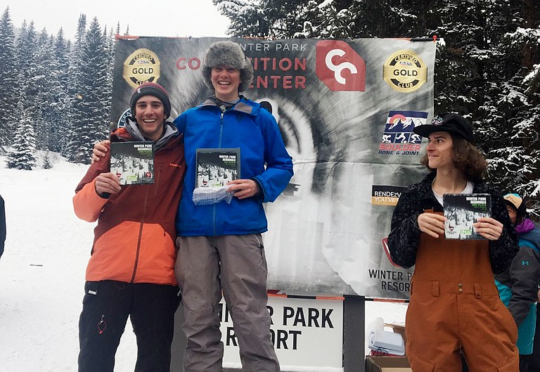 Brothers Jacob Gilbertson, right, and Bryan Gilbertson celebrate claiming first and second, respectively, at a big mountain ski event in Winter Park.