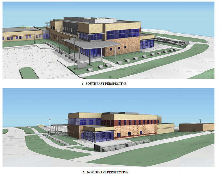 Conceptual drawings show the potential design for a shared law enforcement facility in west Steamboat Springs next to the Routt County Jail.
