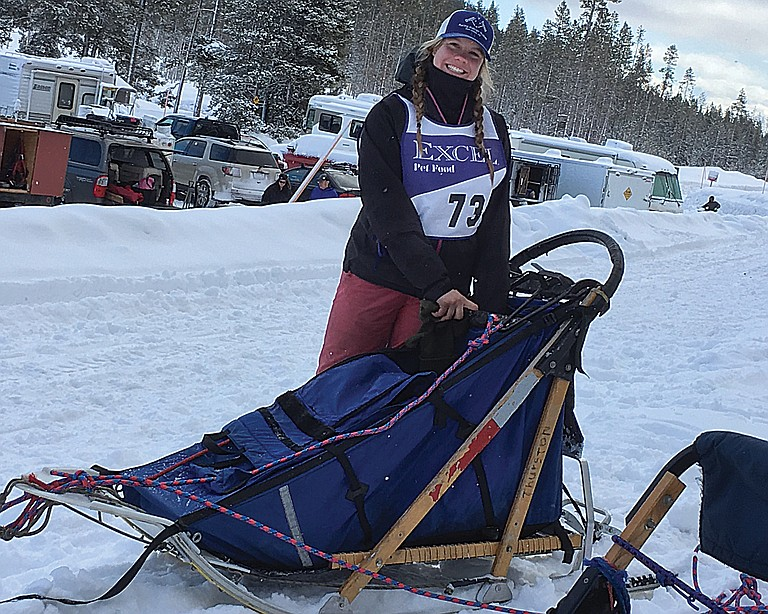 Greta Thurston prepares to head out on the trail for the American Dog Derby Dog Sled Race in Ashton, Idaho.