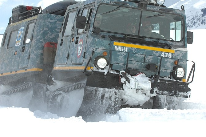 National Guard members used the small unit support vehicle to train in North Routt Saturday and Sunday. The amphibious military vehicle is designed for use on all terrains, including deep, soft snow.