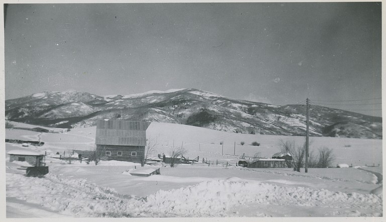 An undated photograph shows the Arnold Barn before Steamboat Ski Area developed around it.