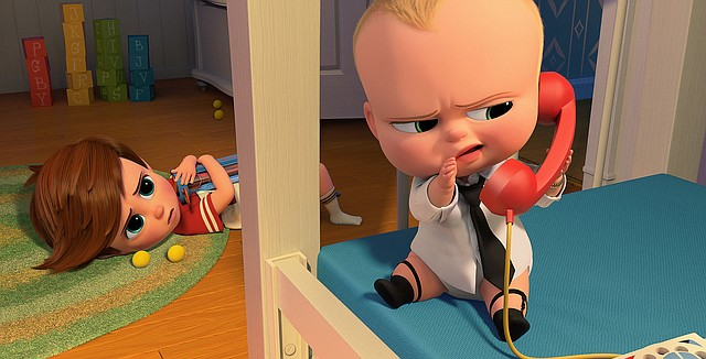 """An infant spy (voice of Alec Baldwin) realizes he's been discovered in """"The Boss Baby."""" The movie is about a young boy who learns his new baby brother has an unusual background."""