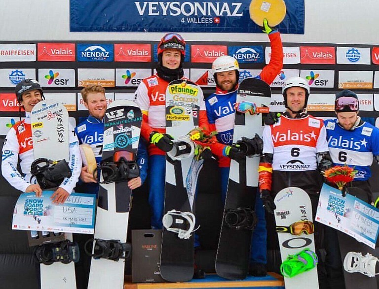 Mick Dierdorff, second from left, teamed up with Jonathan Cheever to place second in a World Cup event late this season. It was Dierdorff's first World Cup podium.