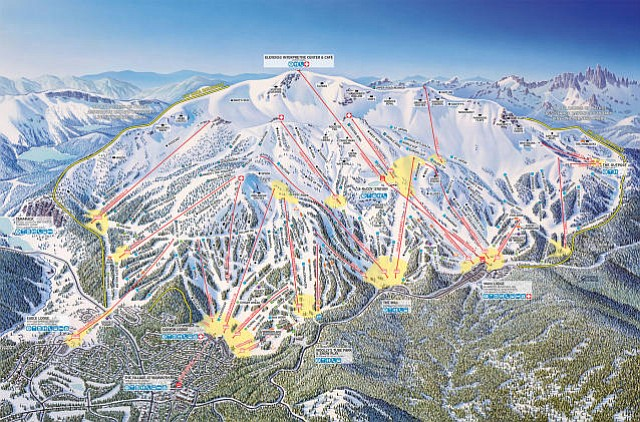 Mammoth Mountain is located in the Sierra Nevadas and is California's highest resort with a summit at 11,053 feet.