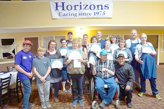The winners of this year's 5th annual Pick-a-Dish fundraiser for Horizons. The event was held at the Clarion Inn  and paired Horizon's chefs with nine area restaurants.