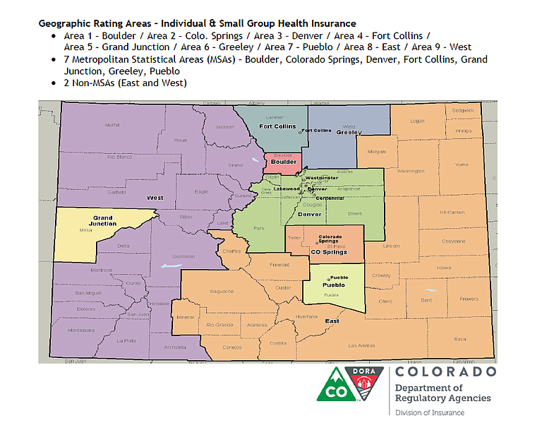 Residents living in the east, west and Grand Junction health insurance regions would be eligible for financial relief under the bill.