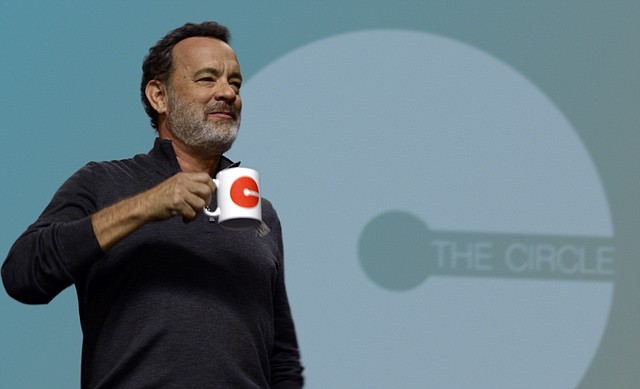 "Eamon Bailey (Tom Hanks) addresses a crowd of employees in ""The Circle."" The movie is about a new employee at an Internet company who starts to find fault with the business's practices."