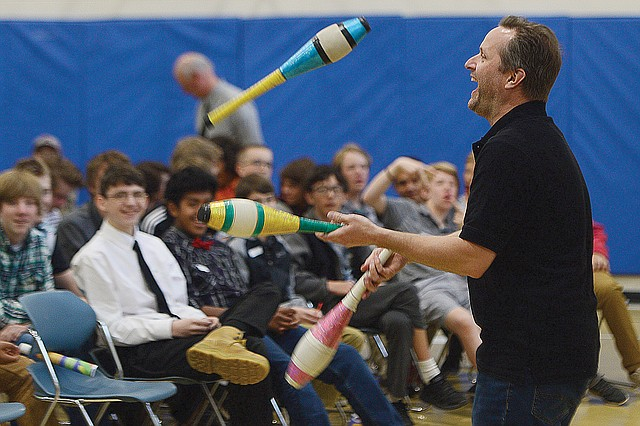 Andrew Pratt juggles during The Journey Ahead program, which took place at Colorado Mountain College Steamboat Springs earlier this month. Pratt joined Scott Parker, both original members of We're Not Clowns, to entertain the group with their juggling skills, humor and creativity.