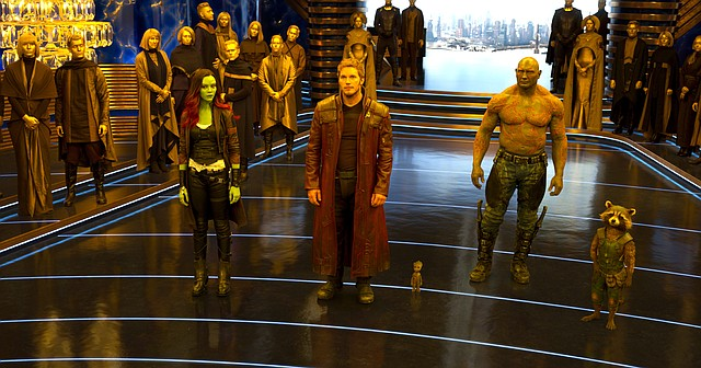 """Peter Quill (Chris Pratt) and crew await payment from the Sovereign in """"Guardians of the Galaxy Vol. 2."""" The movie is a sequel to the Marvel Comics film about a ragtag group of oddballs in outer space."""