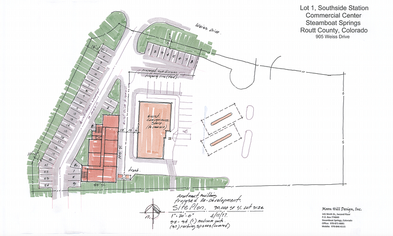 A conceptual site plan shows the layout of the Southside Apartments off of Weiss Drive.